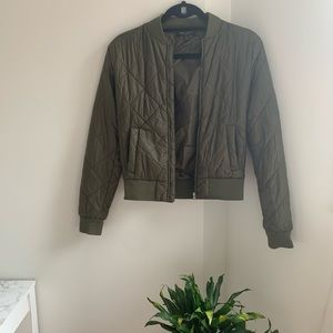 Romeo & Juliet Couture Woven Quilted Bomber Jacket